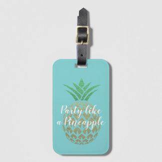 Étiquette À Bagage Partie comme un voyage tropical d'ananas