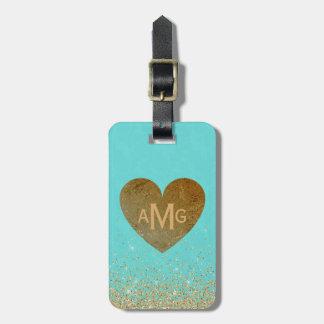 Étiquette À Bagage Parties scintillantes bleues Girly de coeur de