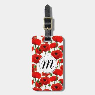 Étiquette À Bagage Pavots rouges motif et monogramme floraux