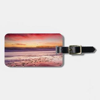Étiquette À Bagage Paysage marin et pilier au coucher du soleil, CA