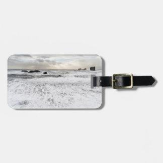 Étiquette À Bagage Paysage marin mousseux pâle d'océan, Islande