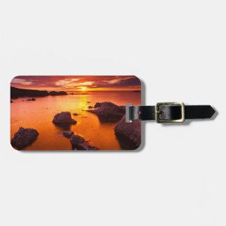 Étiquette À Bagage Paysage marin orange, coucher du soleil, la