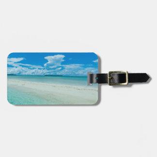 Étiquette À Bagage Paysage marin tropical bleu, Palaos