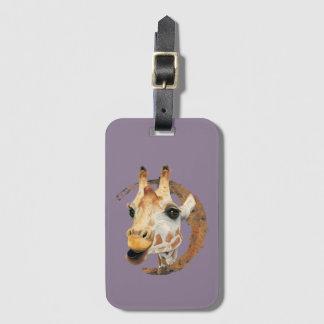 Étiquette À Bagage Peinture de girafe avec le cadre de cercle d'or de