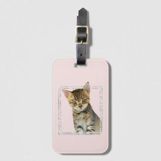 Étiquette À Bagage Peinture tigrée de chaton avec le cadre de marbre