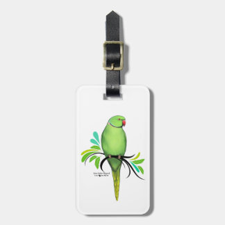 Étiquette À Bagage Perroquet vert de Ringneck d'Indien