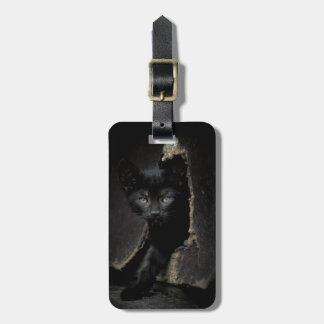 Étiquette À Bagage Petit Kitty noir