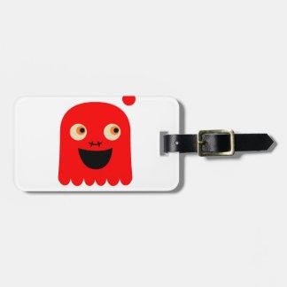 Étiquette À Bagage Petit monstre rouge mignon sur le blanc