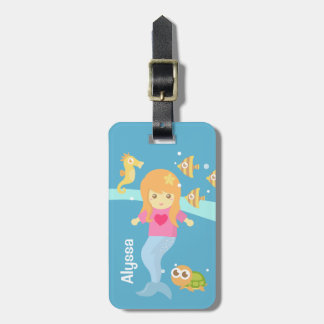 Étiquette À Bagage Petite fille mignonne de sirène sous les animaux