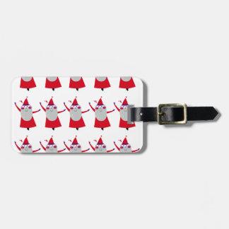Étiquette À Bagage Petites Santa mignonnes rouges