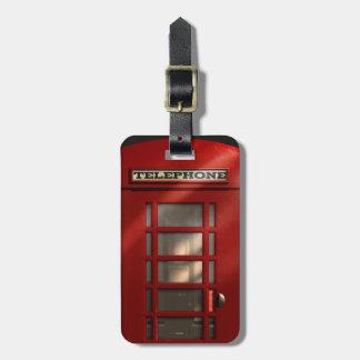 Étiquette À Bagage Phonebox rouge britannique vintage