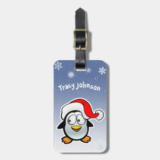 Étiquette À Bagage Pingouin frais avec le casquette de Père Noël
