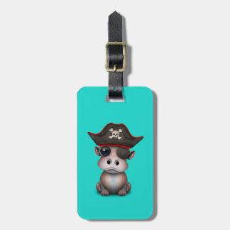 Étiquette À Bagage Pirate mignon d'hippopotame de bébé