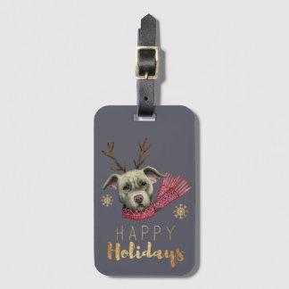 Étiquette À Bagage Pitbull de renne de Noël avec des polices d'or de