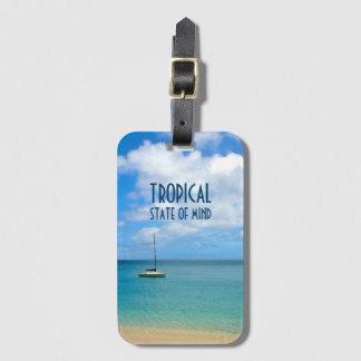 Étiquette À Bagage Plage et yacht tropicaux de paradis