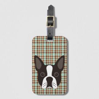 Étiquette À Bagage Plaid de tartan de chiot de Boston Terrier