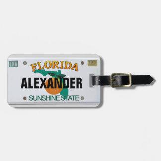 Étiquette À Bagage Plaque minéralogique de la Floride avec votre nom