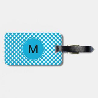 Étiquette À Bagage Point blanc et bleu de monogramme de polka