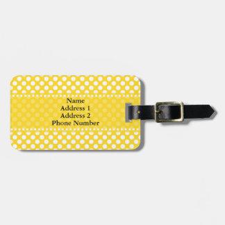 Étiquette À Bagage Point de polka blanc et jaune