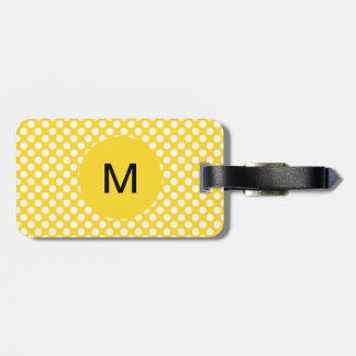 Étiquette À Bagage Point de polka blanc et jaune décoré d'un monogram