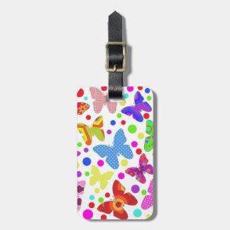 Étiquette À Bagage Point de polka coloré et mignon de papillon