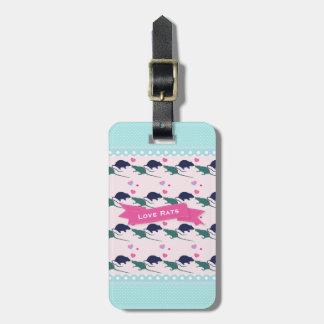 Étiquette À Bagage Point de polka de rats d'amour