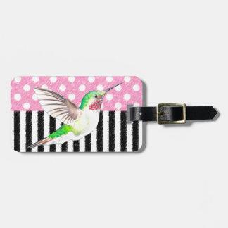 Étiquette À Bagage Point de polka rose de colibri