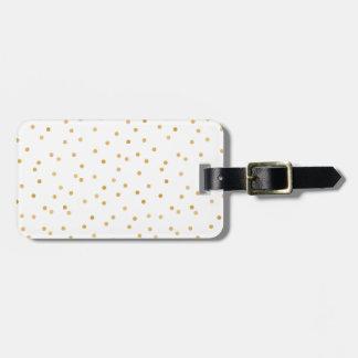 Étiquette À Bagage Points modernes élégants de confettis d'or blanc