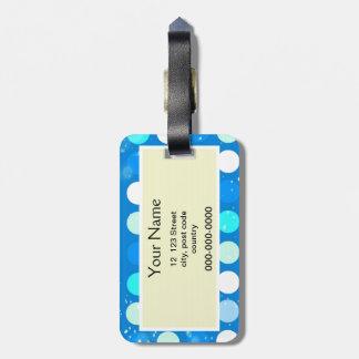 Étiquette À Bagage Pois bleu de roucoulement grand, blanc, bleu-clair