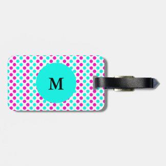 Étiquette À Bagage Pois rose et bleu décoré d'un monogramme
