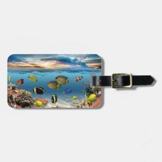 Étiquette À Bagage Poissons tropicaux sous-marins de récif coralien