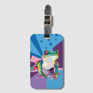 Étiquette À Bagage Portrait coloré de grenouille d'arbre