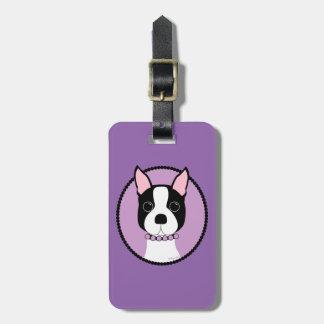 Étiquette À Bagage Pourpre de Boston Terrier