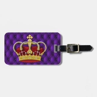 Étiquette À Bagage Pourpre Pintucks de la couronne et du Faux de la