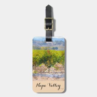 Étiquette À Bagage Raisins de cuve sur la vigne dans Napa Valley