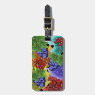 Étiquette À Bagage raisins et feuilles