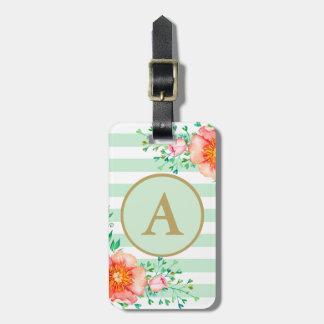 Étiquette À Bagage Rayure florale de blanc de menthe de monogramme