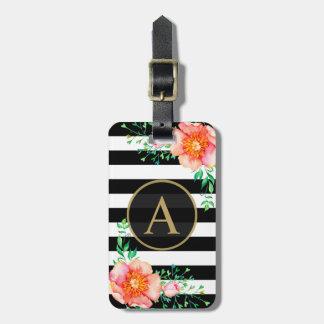 Étiquette À Bagage Rayure florale de blanc de noir de monogramme d'or