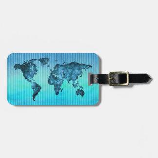 Étiquette À Bagage Rayures bleues au néon de la carte   du monde