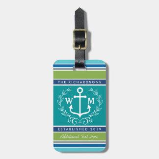 Étiquette À Bagage Rayures d'Aqua de guirlande de laurier d'ancre de
