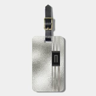 Étiquette À Bagage Rayures en métal sur le monogramme en verre ID443