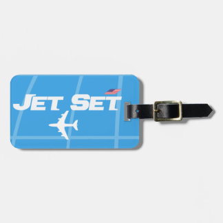 Étiquette À Bagage Rétro bleu d'ensemble de jet