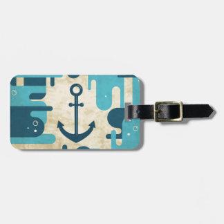 Étiquette À Bagage Rétro conception nautique turquoise d'ancre