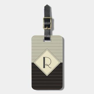 Étiquette À Bagage Rétro monogramme gris et noir de rayure