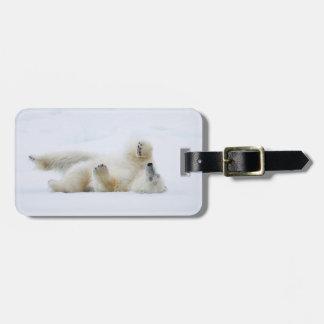 Étiquette À Bagage Roulement d'ours blanc dans la neige, Norvège