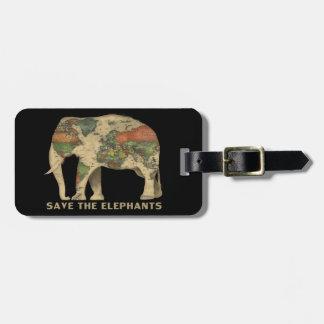 Étiquette À Bagage Sauvez l'étiquette de bagage d'éléphants avec le