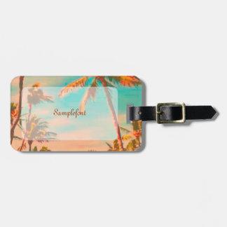 Étiquette À Bagage Scène hawaïenne vintage/sarcelle d'hiver de plage