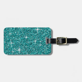 Étiquette À Bagage Scintillement iridescent turquoise