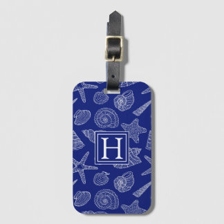 Étiquette À Bagage Shell bleu lumineux modèlent   ajoutent votre