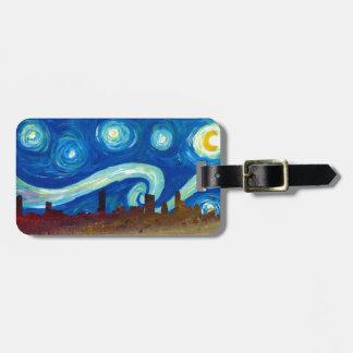 Étiquette À Bagage Silhouette d'horizon d'Austin avec la nuit étoilée